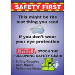 Safety Vest, Goggles, dust mask, earplugs